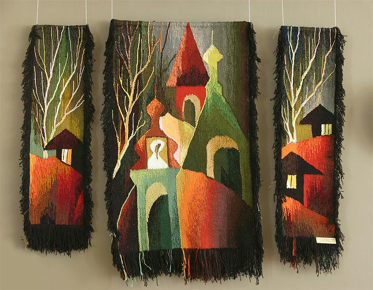 Русь моя.  Гобелен, триптих, 2007 год.  Шерсть, ручное ткачество.  Осенняя областная выставка 2007...