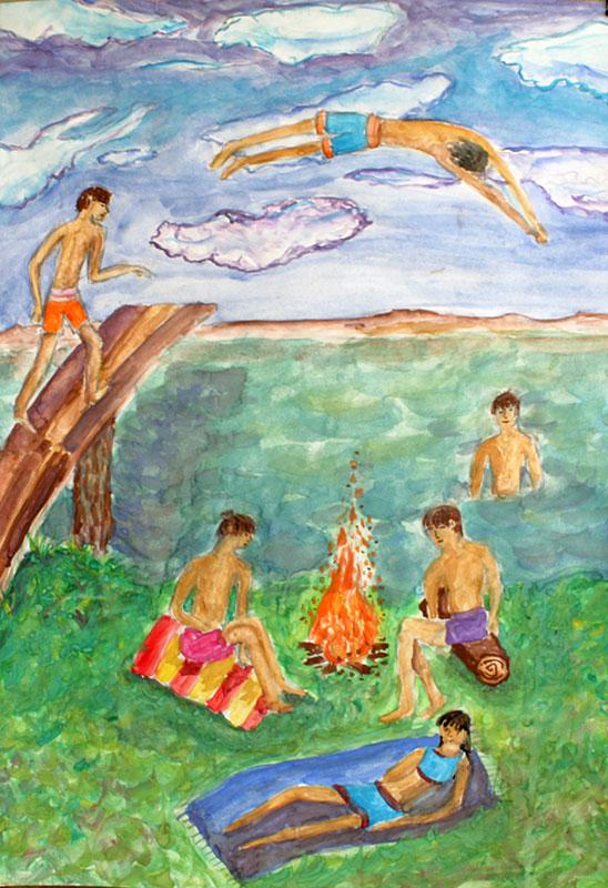 Рисунок отдых у моря карандашом