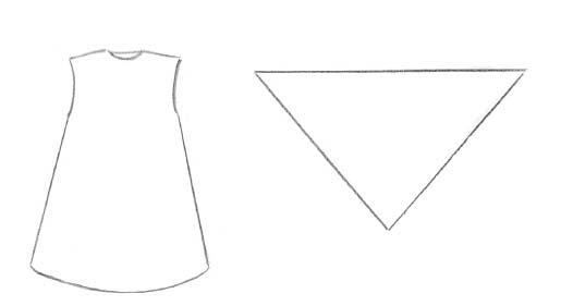 Рис. 2 в. Схема выкройки сарафана и платка для куклы А.В. Ефимовой